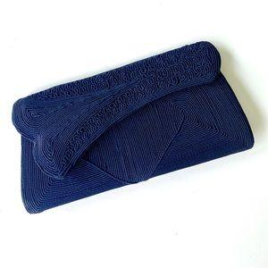 VINTAGE NAVY BLUE CORDE CLUTCH